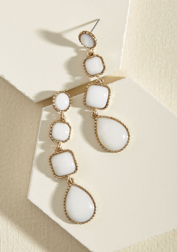 Dazzling Distinction Earrings - Cream, White, Prom, Wedding, Party, Cocktail, Winter, Gold, Good