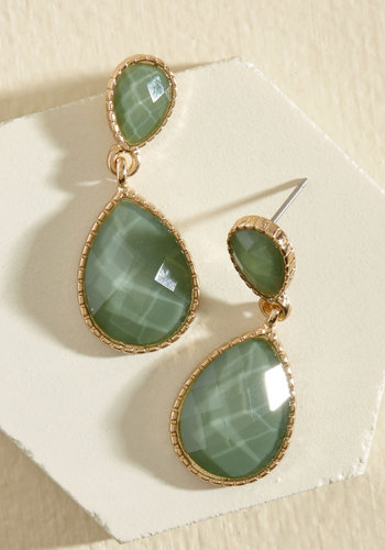 Turn a Droplet Earrings in Sage - Green, Gold, Prom, Wedding, Party, Cocktail, Girls Night Out, Winter, Gold, Good