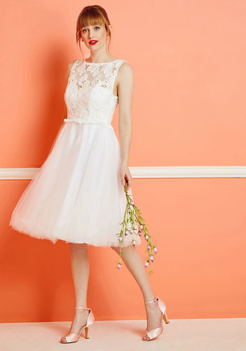 I Now Pronounce You Posh Lace Dress in White by ModCloth - White, Solid, Fit & Flare, Sleeveless, Lace, Exclusives, Scoop, Long, Woven, Tulle, Graduation, Vintage Inspired, Cocktail, Prom, Best Seller, Best Seller, Homecoming, ModCloth Label, Lace
