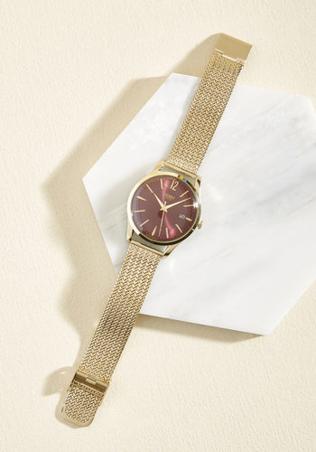 Through the Looking Class Watch in Wine by Henry London - Luxe Gifts, Gold, Red, Work, Vintage Inspired, Luxe, Gold