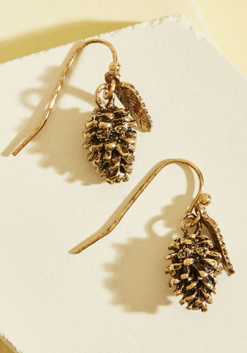 Pine Times Out of Ten Earrings - Brown, Casual, Quirky, Food, Winter, Good, Gold