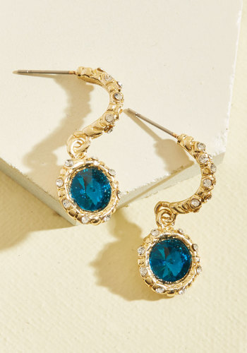 Flawless Feeling Earrings - Under 25 Gifts, Sparkly2015, Gold, Blue, Gold, Special Occasion, Holiday Party