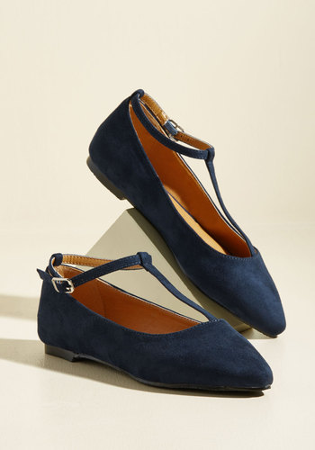 Retro Vintage Flats and Low Heel Shoes From Trip to Toe Vegan Flat in Navy $34.99 AT vintagedancer.com