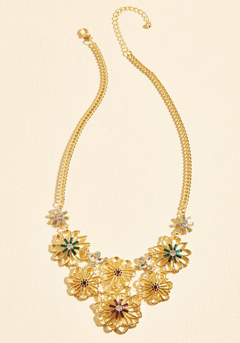 Broadway Bouquets Necklace - Under 50 Gifts, Under 25 Gifts, Sparkly2015, Gold, Gold, Special Occasion, Statement, Mod