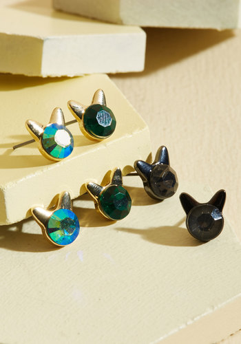 Take Meow-t Tonight Earring Set in Feisty - Critter Gifts, Cats, Gold, Gunmetal, Green, Silver, Gold, Party, Quirky, Critters, Under 25 Gifts, Store 1, Valentine's