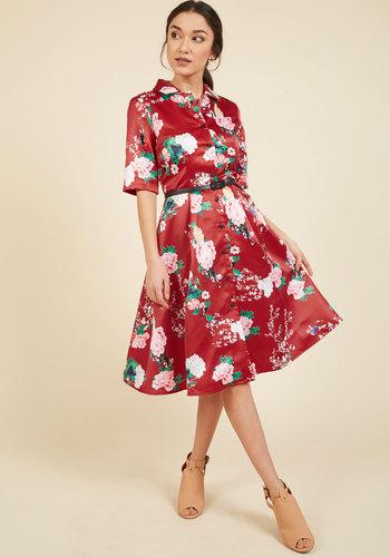 1960s Plus Size Dresses & Retro Mod Fashion Respectfully Retro Midi Dress in Crimson Blossom $99.99 AT vintagedancer.com