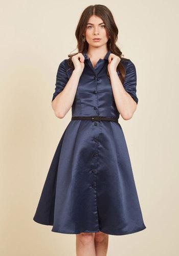 1940s Day Dresses Respectfully Retro Midi Dress in Navy $89.99 AT vintagedancer.com