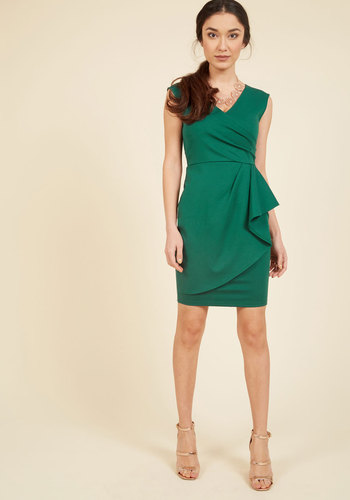 Public Speaking Highly of You Sheath Dress in Clover - Green, Solid, Work, Casual, Sheath, Sleeveless, Spring, Summer, Fall, Winter, Good, Exclusives, Knit, Mid-length, Ruffles, Vintage Inspired, 60s, Saturated
