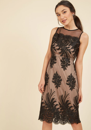 Luxe Illuminations Sheath Dress in Noir - Tan, Black, Solid, Special Occasion, Cocktail, Wedding Guest, Sheath, Sleeveless, Lace, Best, Scoop, Lace, Holiday Party, LBD, Party, Vintage Inspired, 20s, Luxe, Statement, Winter, Mid-length, Knee Length, Knee, Woven, Neutral, Scallops, Girls Night Out, Valentine's, Bodycon / Bandage, Fall, Sheer
