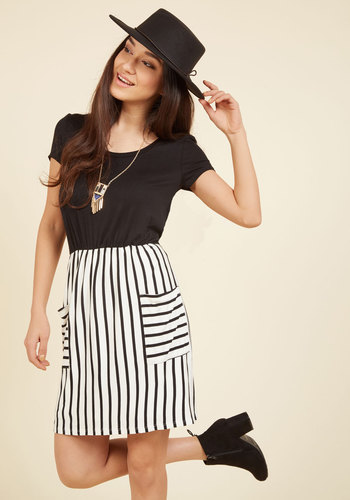 Comings and Easygoings Twofer Dress in Black & White - White, Stripes, Print, Casual, A-line, Twofer, Short Sleeves, Fall, Winter, Knit, Good, Exclusives, Private Label, Black, Pockets, Vintage Inspired, 80s, 90s, Spring, Summer, Woven, Scoop, Black, Mid-length