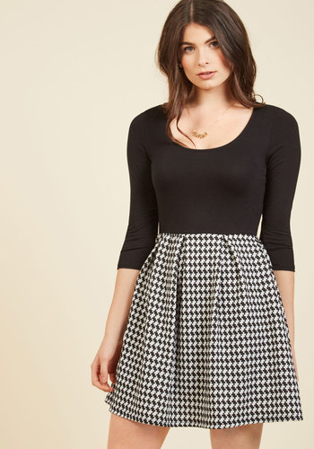 Bistro Tasting Twofer Dress in White - Black, White, Houndstooth, Print, Casual, A-line, Twofer, 3/4 Sleeve, Winter, Knit, Better, Exclusives, Private Label, Vintage Inspired, 90s, Fall, Woven, Scoop, Black, Short