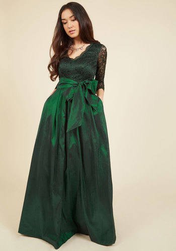 Applaud Your Elegance Maxi Dress by Eliza J - Woven, Lace, Green, Solid, Lace, Belted, Special Occasion, Party, Holiday Party, Vintage Inspired, 50s, Luxe, Statement, Maxi, 3/4 Sleeve, Fall, Winter, Long, Exceptional, V Neck, Saturated, Bows, Pleats, Pockets, Holiday, Homecoming, Wedding Guest, Fit & Flare, Best Seller