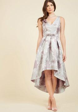 Delightful Drama Floral Dress in Silvermist
