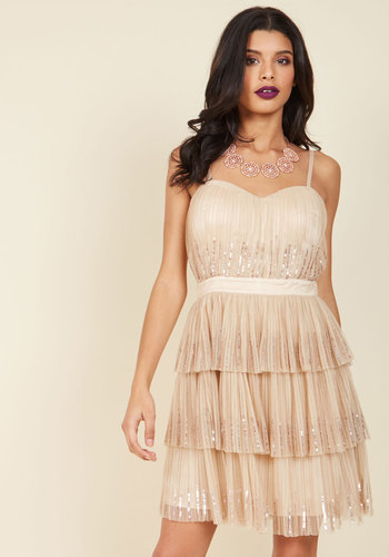 Inventive Occasion A-Line Dress - Blush, Ruffles, Sequins, Tiered, Special Occasion, Prom, Party, Cocktail, Holiday Party, Wedding Guest, Vintage Inspired, A-line, Fall, Winter, Tulle, Exceptional, Exclusives, Woven, Solid, 20s, Luxe, Statement, Knee Length, Knee, Pastel, Ballerina / Tutu, Strapless, Spaghetti Straps, Spring, Summer, Short, Sheer, Sweetheart