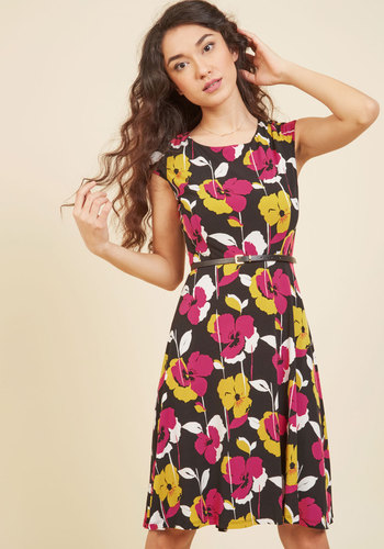 Conference Connoisseur Floral Dress by Nine West - Knit, Black, Pink, Floral, Print, Work, Daytime Party, A-line, Sleeveless, Fall, Better