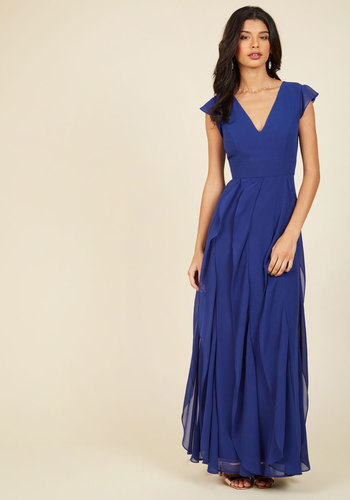 Exquisite Epilogue Maxi Dress in Sapphire - Blue, Solid, Ruffles, Special Occasion, Party, Wedding Guest, Woven, Best, Exclusives, V Neck, Prom, Cocktail, Holiday Party, Homecoming, Vintage Inspired, 40s, Luxe, A-line, Maxi, Cap Sleeves, Fall, Winter, Chiffon, Long, Bridesmaid