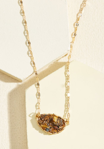 Nostalgic for Nature Necklace - Gold, Brown, Gold, Work, Casual, Fall, Good, Quirky