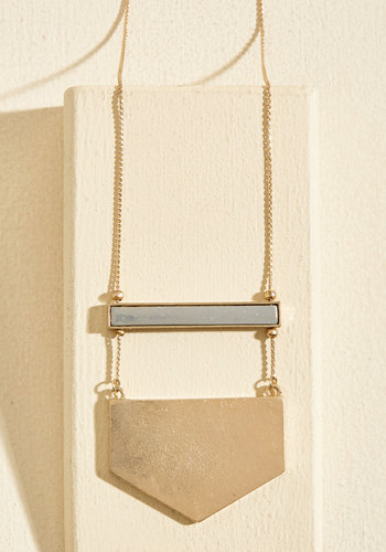 A Game of Give and Shape Necklace - Silver, Gold, Chevron, Casual, Cocktail, Winter, Good, Gold
