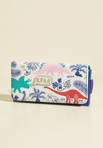 Dino It's Possible Wallet by Disaster Designs - Critter Gifts, Cream, Multi, Print with Animals, Novelty Print, Casual, Quirky, Critters