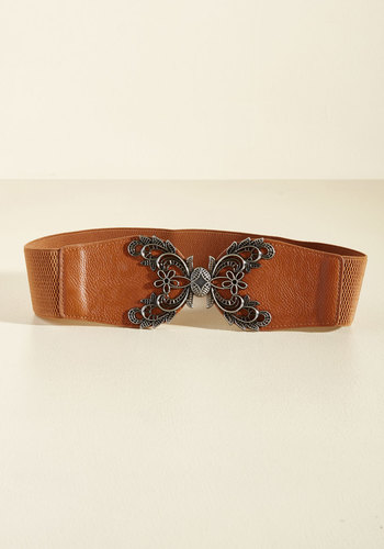 Accent of Kindness Belt in Cognac - Brown, Solid, Flower, Party, Daytime Party, Boho, Statement, Rustic, Festival, Winter, Faux Leather, Good