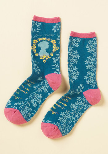 Like Author Like Daughter Socks - Blue, Yellow, Pink, Novelty Print, Casual, Quirky, Darling, Sayings, Spring, Summer, Winter, Good, Blue, Saturated