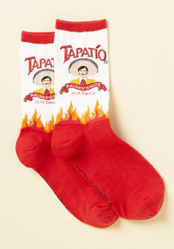 As Often As Hot Socks - White, Red, Novelty Print, Casual, Quirky, Food, Spring, Summer, Winter, Good, Red, Saturated