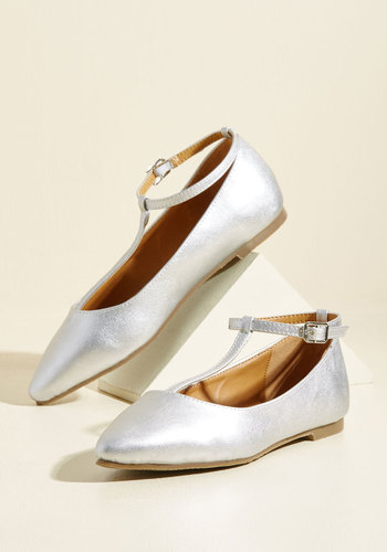 Retro Vintage Flats and Low Heel Shoes From Trip to Toe Vegan Flat in Silver $34.99 AT vintagedancer.com