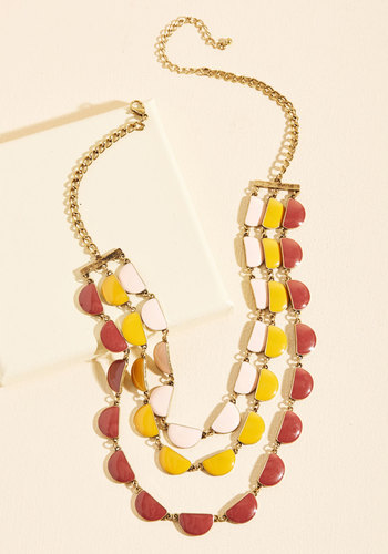 Tier, Hear! Necklace - Red, Orange, Yellow, Blush, Party, Cocktail, Girls Night Out, Statement, Quirky, Winter, Better, Gold