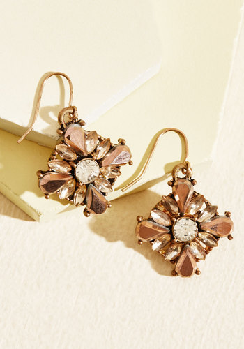 Certainly Shining Earrings - Gold, Under 50 Gifts, Under 25 Gifts, Sparkly2015, Pink, Blush, Rhinestones, Party, Cocktail, Bridesmaid, Vintage Inspired, Fall, Good