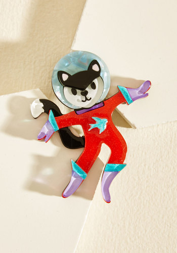 Space Cat-det Resin Pin by Erstwilder - Red, Multi, Casual, Daytime Party, Quirky, Cats, Cosmic, Winter, Better, Store 1, Critter Gifts, Unique Gifts, Cosmic Gifts, Under 50 Gifts