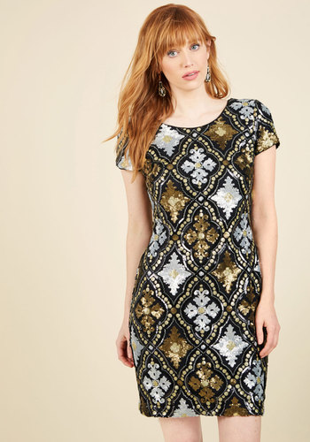 Golden Opera-tunity Sequin Dress - Multi, Gold, Solid, Sequins, Special Occasion, Party, Cocktail, Holiday Party, Homecoming, Shift, Short Sleeves, Woven, Best, Mid-length, 20s
