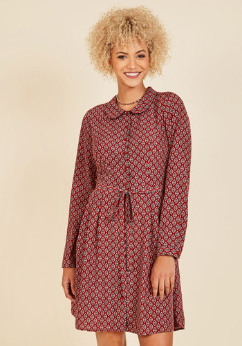 Round-Trip Recipient Shirt Dress - Multi, Red, Print, Casual, A-line, Shirt Dress, Long Sleeve, Fall, Woven, Better, Exclusives, Red, Mid-length