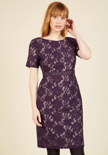 Vogue Vocation Sheath Dress by Adrianna Papell - Woven, Purple, Solid, Lace, Special Occasion, Party, Cocktail, Holiday Party, Vintage Inspired, 50s, Luxe, Statement, Sheath, Short Sleeves, Fall, Winter, Mid-length, Lace, Exceptional, Crew, Saturated