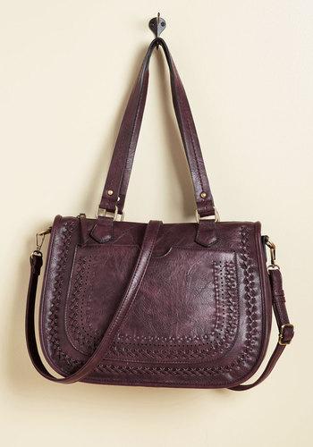 Adventure on the Agenda Bag in Raisin - Purple, Woven, Work, Casual, Winter, Faux Leather, Better