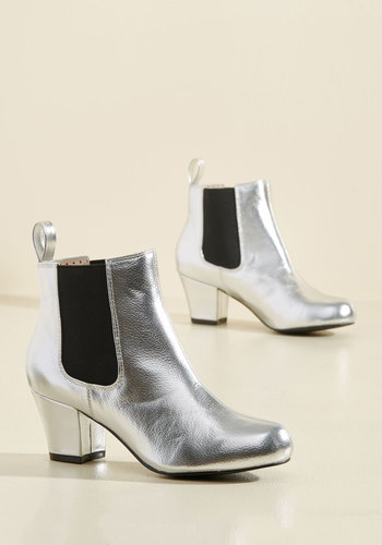 Retro & Vintage Style Shoes Lover of Luster Bootie in Sterling $75.99 AT vintagedancer.com