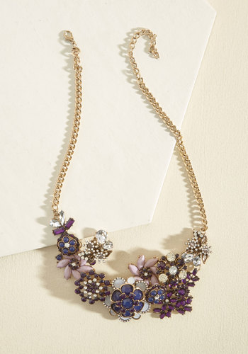 Vow to Wow Necklace in Amethyst - Under 50 Gifts, Gold, Bronze, Flower, Prom, Wedding, Party, Wedding Guest, Statement, Winter, Gold, Better, Sparkly2015, Tis the Season Sale