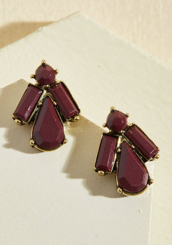 Darling Details Earrings - Under 50 Gifts, Under 25 Gifts, Sparkly2015, Gold, Brown, Gold, Special Occasion, Holiday Party, Winter, Metal, Red, Solid, Party, Good