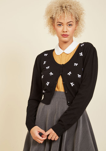 1950s Style Sweaters, Crop Cardigans, Twin Sets Everywhere You Bow Cardigan $49.99 AT vintagedancer.com