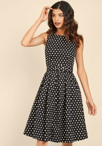 1940s Style Dresses and Clothing Lindy Hop and You Dont Stop A-Line Dress in Black $59.99 AT vintagedancer.com