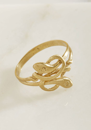 Certainly Serpentine Ring - Gold, Party, Casual, Luxe, Quirky, Critters, Winter, Gold, Exceptional, Luxe Gifts