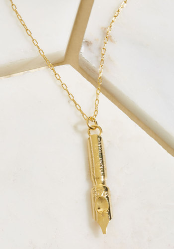 Flash a Note Off Necklace - Gold, Party, Work, Casual, Quirky, Winter, Gold, Exceptional