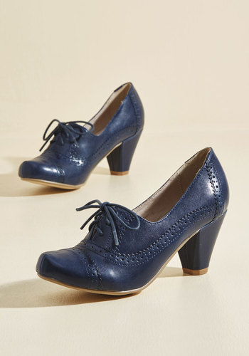 Rhythm and Views Oxford Heel by Chelsea Crew - Blue, Solid, Work, Girls Night Out, Daytime Party, Graduation, Vintage Inspired, 20s, Darling, Better, Lace Up