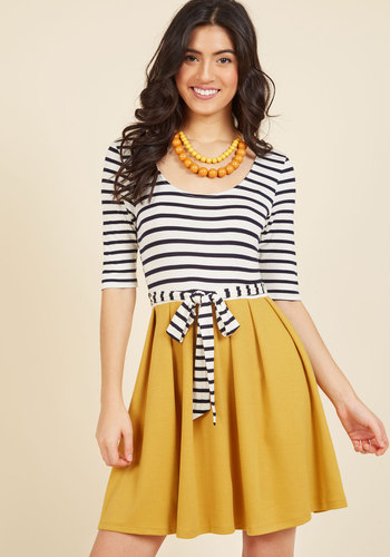 In the Very Near Twofer Striped Dress - Yellow, White, Stripes, Print, Casual, A-line, Twofer, 3/4 Sleeve, Fall, Knit, Better, Exclusives, Private Label, Mid-length, Belted, Work, Mod
