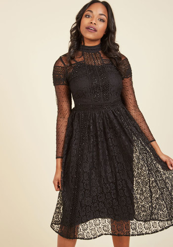 Mystery Meets Luxury Lace Dress - Black, Solid, Lace, Sequins, Special Occasion, Party, Cocktail, Holiday Party, Vintage Inspired, 70s, A-line, Long Sleeve, Fall, Winter, Lace, Exceptional, Beads, Crochet, Trim, Halloween, Homecoming, Statement, Fit & Flare, Midi, Mid-length, Woven, Mockneck, Luxe, Black, LBD