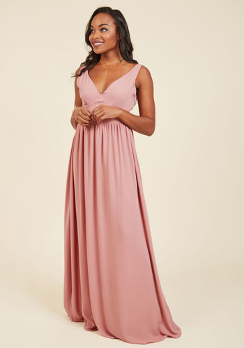 Nights of Fancy Maxi Dress in Blush - Pink, Solid, Backless, Special Occasion, Prom, Party, Holiday Party, Homecoming, Wedding Guest, Vintage Inspired, Luxe, A-line, Maxi, Sleeveless, Fall, Winter, Woven, Best, Exclusives, V Neck, Long