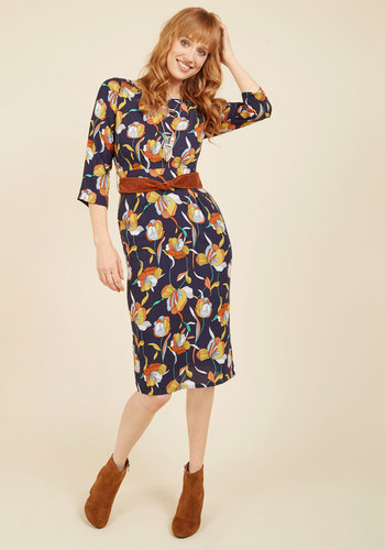 Sentimental Sophisticate Midi Dress by Trollied Dolly - Blue, Orange, Yellow, White, Multi, Floral, Work, Casual, Americana, Sheath, 3/4 Sleeve, Fall, Winter, Woven, Good, Best, Long, Belted, 40s, 70s