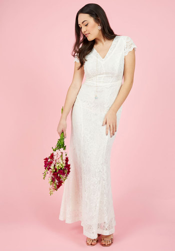 Grand Staircase Entry Maxi Dress in Ivory - Solid, Maxi, Spring, Woven, Lace, Best, V Neck, Cream, Long, Lace, Special Occasion, Prom, Vintage Inspired, 20s, 30s, Luxe, Fairytale, Bodycon / Bandage, Fit & Flare, Cap Sleeves, Summer, Fall, Winter, Exclusives, Bride