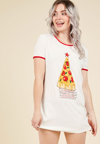 Merry Crust-mas Nightgown by MINKPINK - Multi, White, Novelty Print, Print, Casual, Quirky, Food, Better, Under 100 Gifts, Unique Gifts