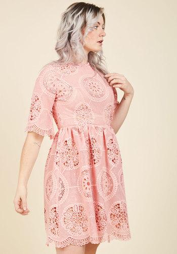 Lovably Ladylike Lace Dress - Woven, Mid-length, Valentine's