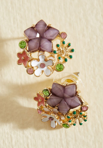 1960s Costume Jewelry – 1960s Style Jewelry Bouquet Brilliance Earrings $17.99 AT vintagedancer.com
